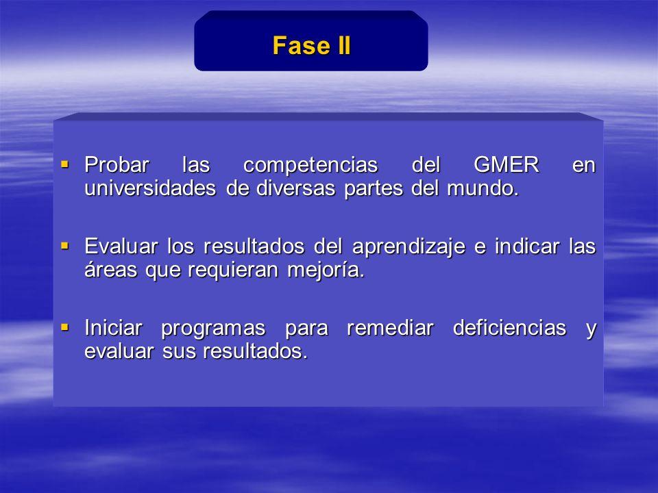 Probar las competencias del GMER en universidades de diversas partes del mundo.