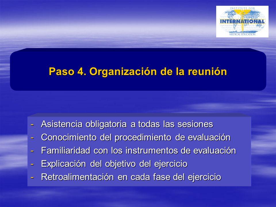-Asistencia obligatoria a todas las sesiones -Conocimiento del procedimiento de evaluación -Familiaridad con los instrumentos de evaluación -Explicación del objetivo del ejercicio -Retroalimentación en cada fase del ejercicio Paso 4.