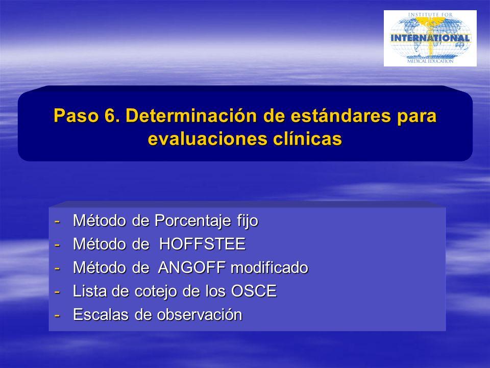 -Método de Porcentaje fijo -Método de HOFFSTEE -Método de ANGOFF modificado -Lista de cotejo de los OSCE -Escalas de observación Paso 6.