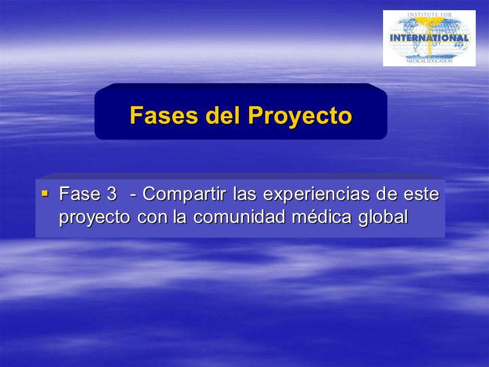 Fase 3 - Compartir las experiencias de este proyecto con la comunidad médica global Fase 3 - Compartir las experiencias de este proyecto con la comunidad médica global Fases del Proyecto