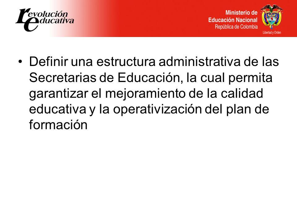 Definir una estructura administrativa de las Secretarias de Educación, la cual permita garantizar el mejoramiento de la calidad educativa y la operativización del plan de formación