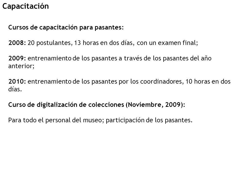 Cursos de capacitación para pasantes: 2008: 20 postulantes, 13 horas en dos días, con un examen final; 2009: entrenamiento de los pasantes a través de los pasantes del año anterior; 2010: entrenamiento de los pasantes por los coordinadores, 10 horas en dos días.