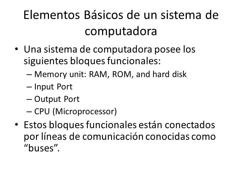Elementos Básicos de un sistema de computadora Una sistema de computadora posee los siguientes bloques funcionales: – Memory unit: RAM, ROM, and hard disk – Input Port – Output Port – CPU (Microprocessor) Estos bloques funcionales están conectados por líneas de comunicación conocidas como buses.