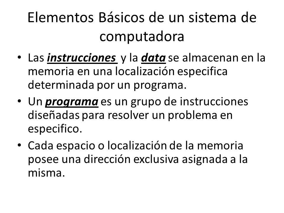 Elementos Básicos de un sistema de computadora Las instrucciones y la data se almacenan en la memoria en una localización especifica determinada por un programa.