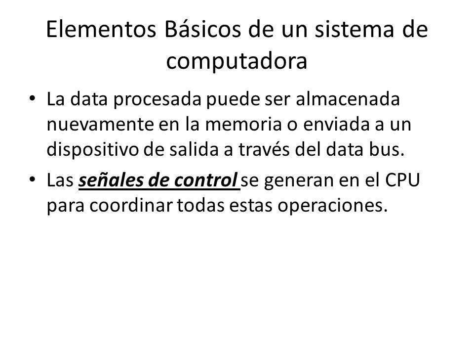 Elementos Básicos de un sistema de computadora La data procesada puede ser almacenada nuevamente en la memoria o enviada a un dispositivo de salida a través del data bus.