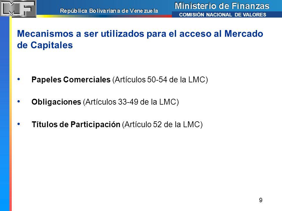 Mecanismos a ser utilizados para el acceso al Mercado de Capitales Papeles Comerciales (Artículos 50-54 de la LMC) Obligaciones (Artículos 33-49 de la