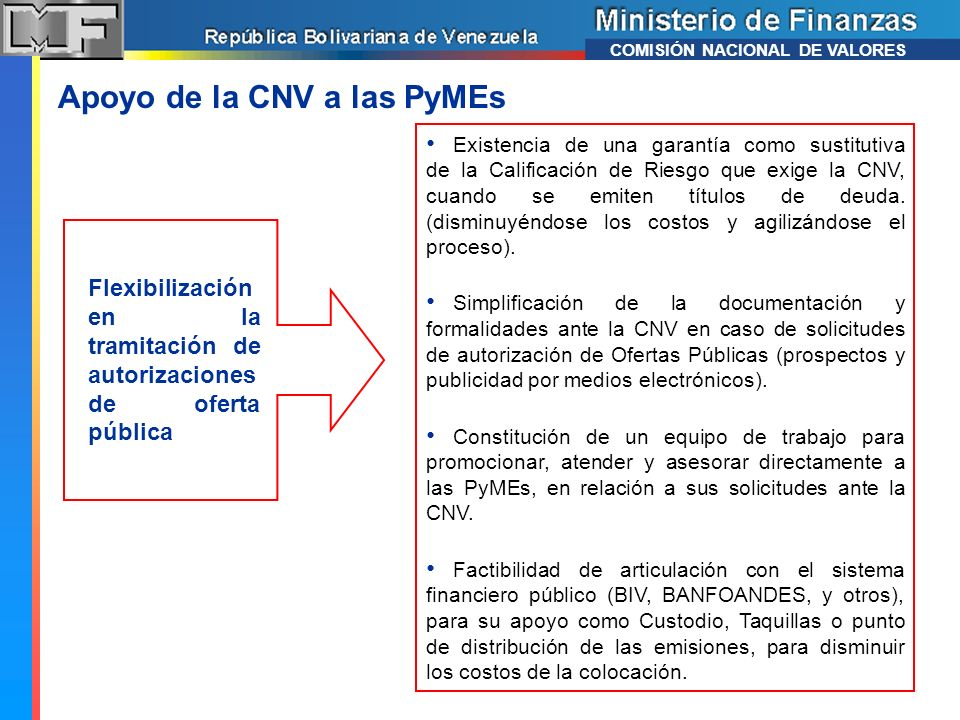 Apoyo de la CNV a las PyMEs Existencia de una garantía como sustitutiva de la Calificación de Riesgo que exige la CNV, cuando se emiten títulos de deu