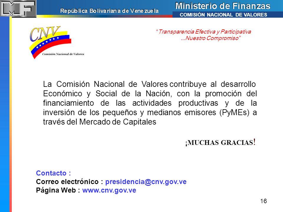 ¡MUCHAS GRACIAS ! Transparencia Efectiva y Participativa...Nuestro Compromiso Contacto : Correo electrónico : presidencia@cnv.gov.ve Página Web : www.