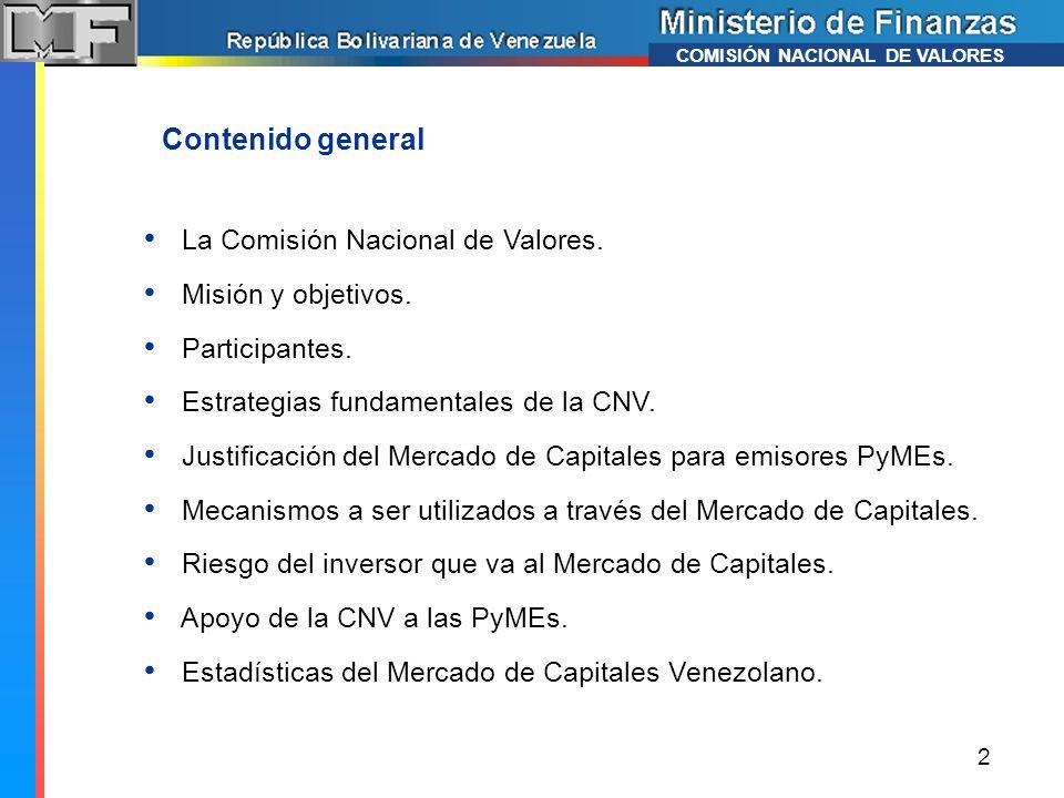 La Comisión Nacional de Valores. Misión y objetivos. Participantes. Estrategias fundamentales de la CNV. Justificación del Mercado de Capitales para e