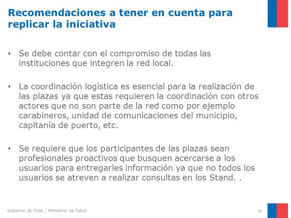 Gobierno de Chile / Ministerio de Salud Recomendaciones a tener en cuenta para replicar la iniciativa Se debe contar con el compromiso de todas las instituciones que integren la red local.