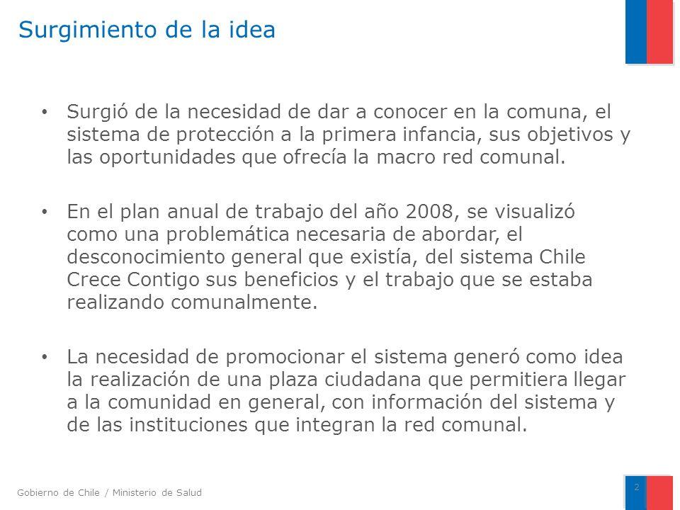 Gobierno de Chile / Ministerio de Salud Surgimiento de la idea Surgió de la necesidad de dar a conocer en la comuna, el sistema de protección a la primera infancia, sus objetivos y las oportunidades que ofrecía la macro red comunal.