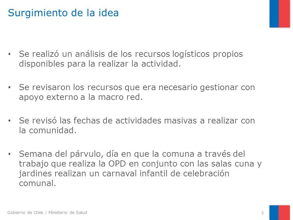 Gobierno de Chile / Ministerio de Salud Surgimiento de la idea Se realizó un análisis de los recursos logísticos propios disponibles para la realizar
