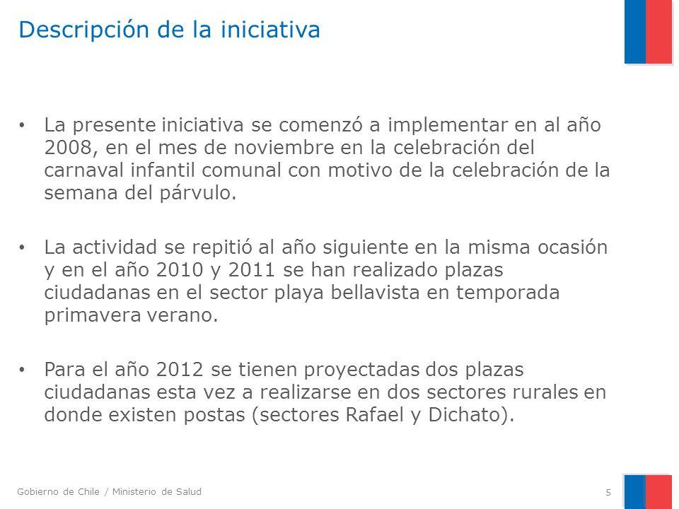 Gobierno de Chile / Ministerio de Salud Descripción de la iniciativa La presente iniciativa se comenzó a implementar en al año 2008, en el mes de noviembre en la celebración del carnaval infantil comunal con motivo de la celebración de la semana del párvulo.