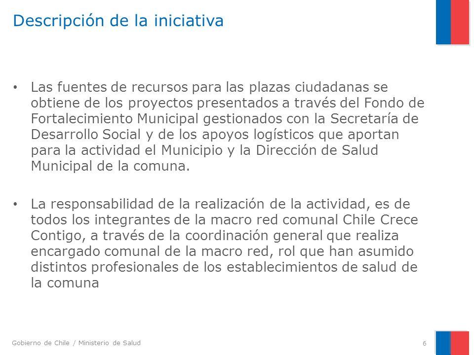 Gobierno de Chile / Ministerio de Salud Descripción de la iniciativa Las fuentes de recursos para las plazas ciudadanas se obtiene de los proyectos pr