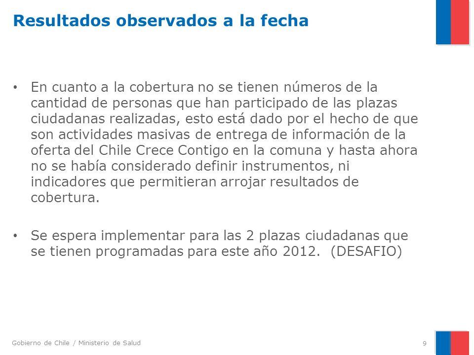 Gobierno de Chile / Ministerio de Salud Resultados observados a la fecha En cuanto a la cobertura no se tienen números de la cantidad de personas que