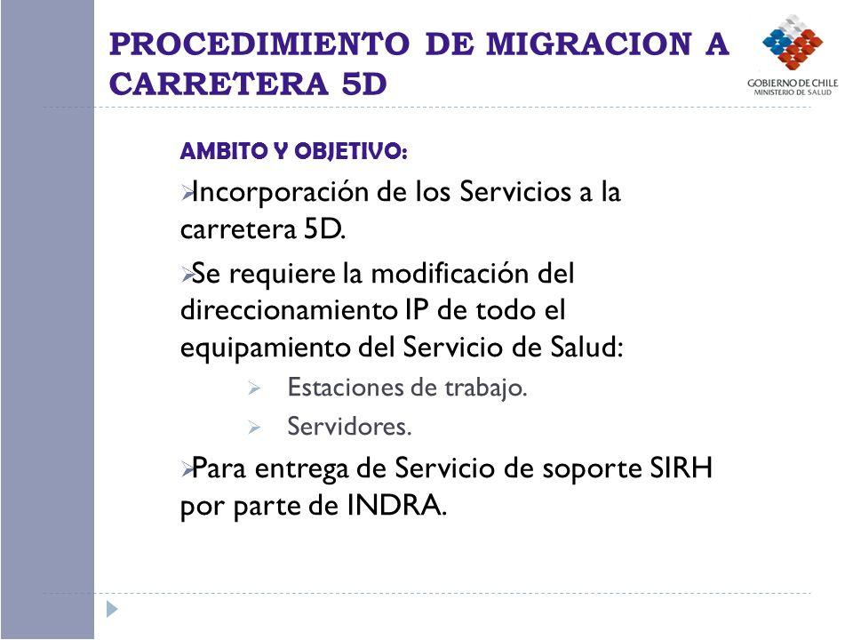 AMBITO Y OBJETIVO: Incorporación de los Servicios a la carretera 5D. Se requiere la modificación del direccionamiento IP de todo el equipamiento del S