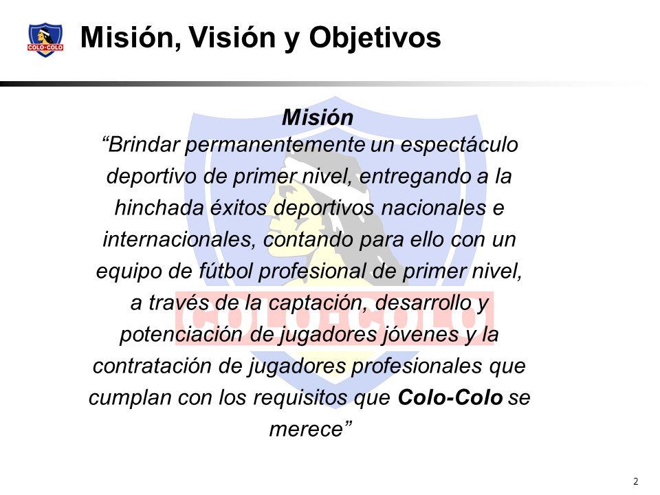 2 Misión Misión, Visión y Objetivos Brindar permanentemente un espectáculo deportivo de primer nivel, entregando a la hinchada éxitos deportivos nacio
