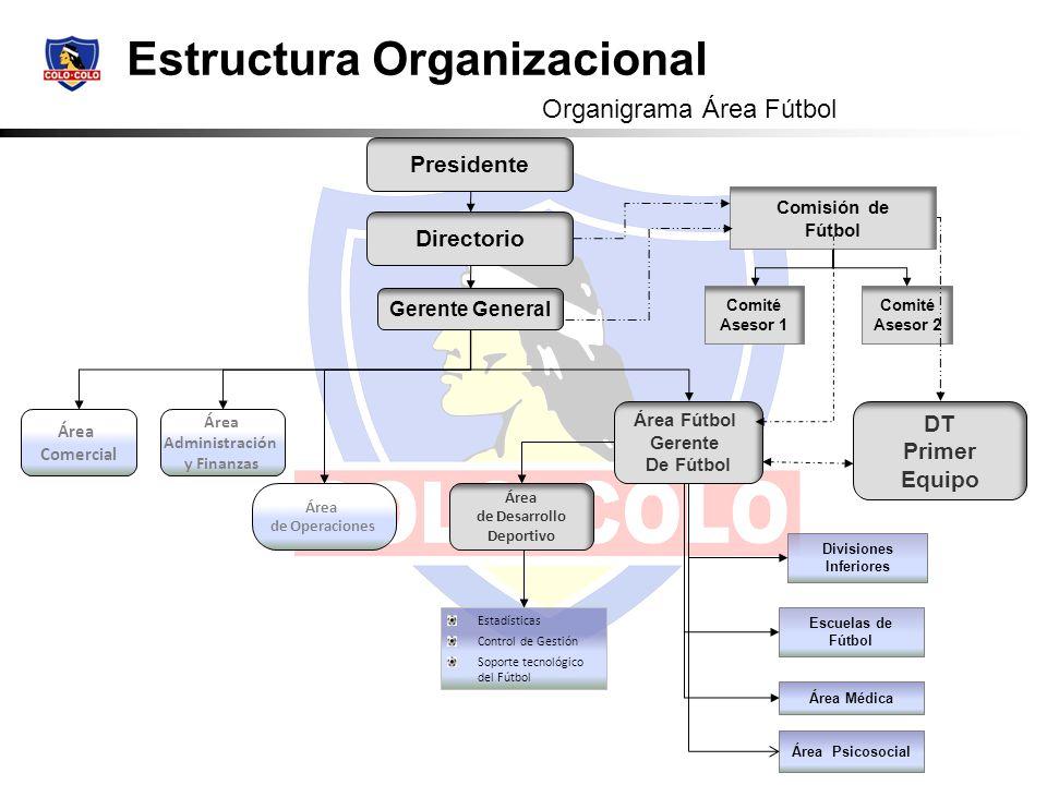 Estructura Organizacional Área Comercial Área Administración y Finanzas Directorio Gerente General Comité Asesor 1 Comité Asesor 2 Área de Operaciones