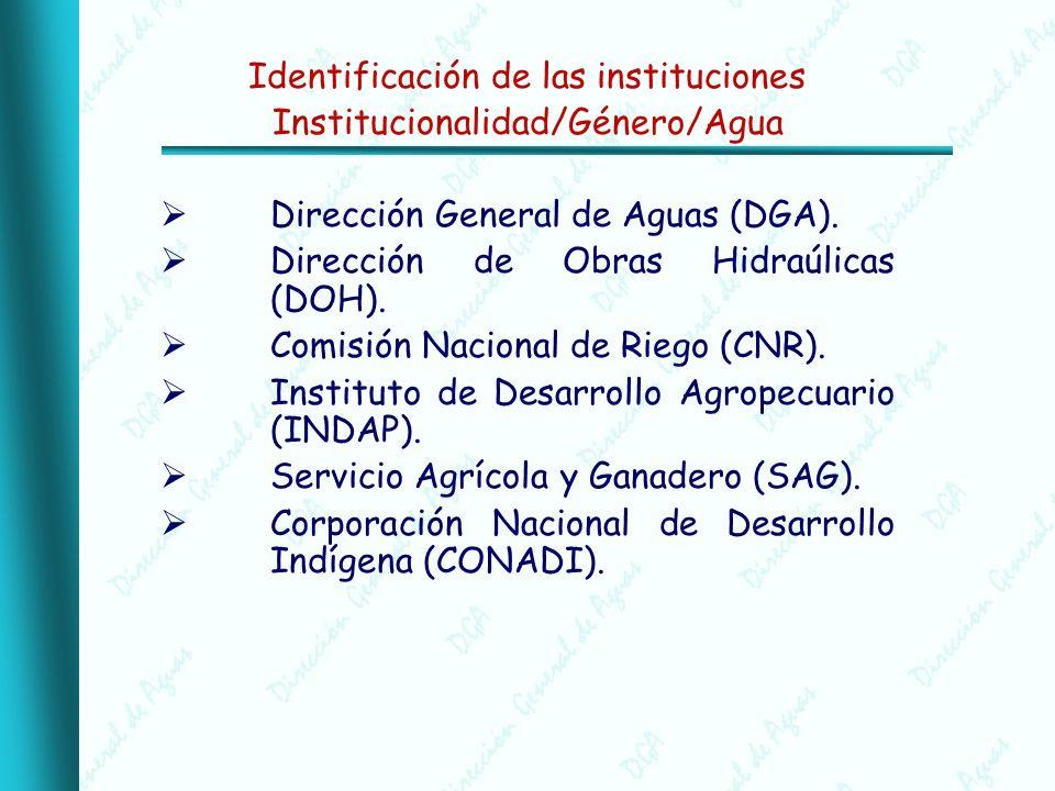Identificación de las instituciones Institucionalidad/Género/Agua Dirección General de Aguas (DGA).