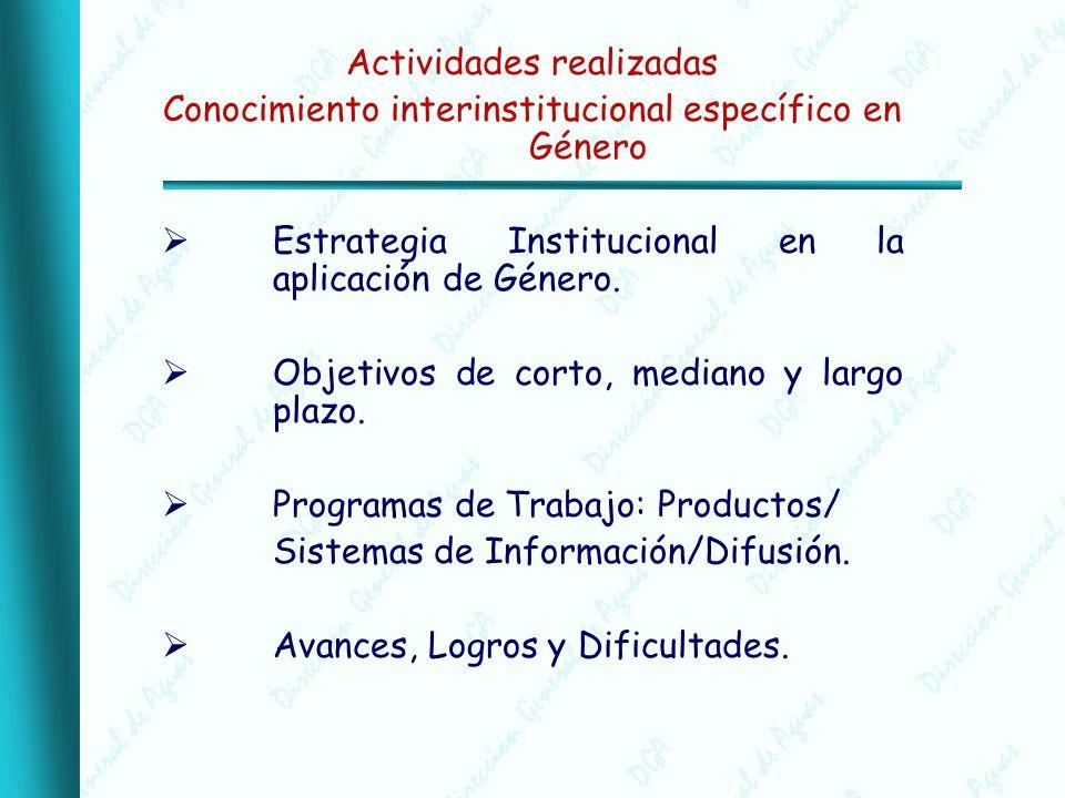 Actividades realizadas Conocimiento interinstitucional específico en Género Estrategia Institucional en la aplicación de Género.