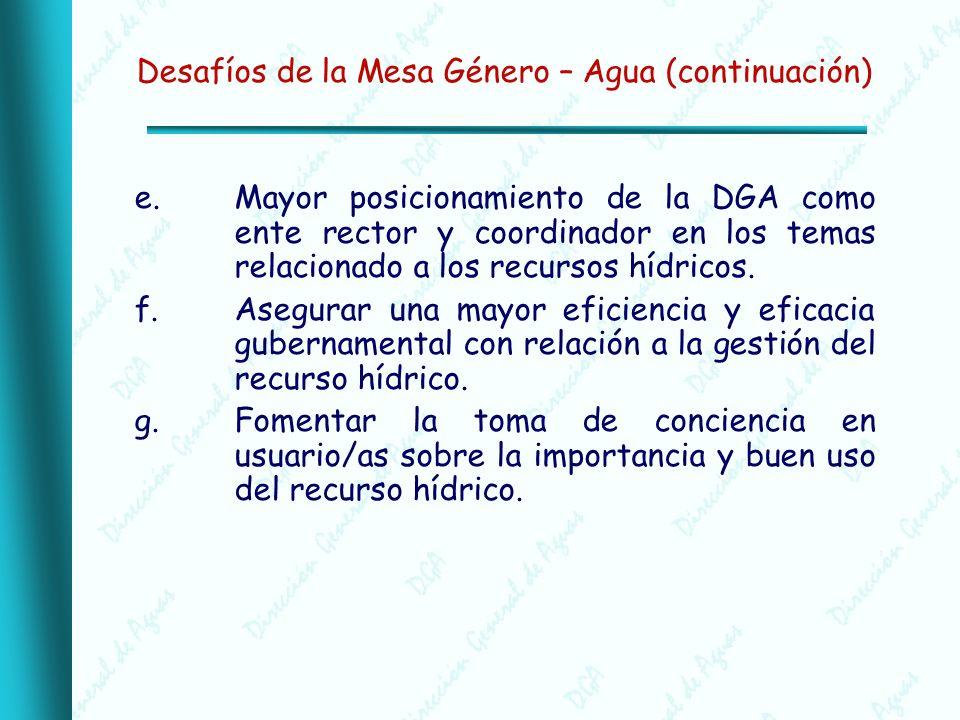 Desafíos de la Mesa Género – Agua (continuación) e.Mayor posicionamiento de la DGA como ente rector y coordinador en los temas relacionado a los recursos hídricos.