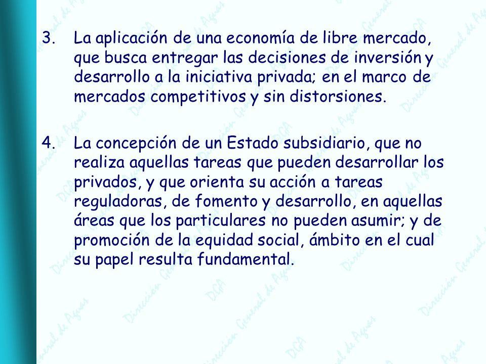 3.La aplicación de una economía de libre mercado, que busca entregar las decisiones de inversión y desarrollo a la iniciativa privada; en el marco de mercados competitivos y sin distorsiones.