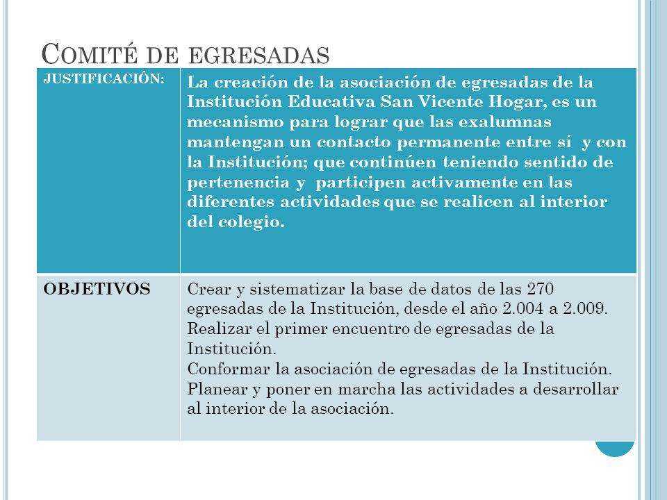 C OMITÉ DE EGRESADAS JUSTIFICACIÓN: La creación de la asociación de egresadas de la Institución Educativa San Vicente Hogar, es un mecanismo para logr