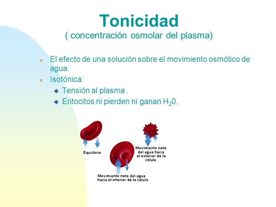 Tonicidad ( concentración osmolar del plasma) n El efecto de una solución sobre el movimiento osmótico de agua. n Isotónica: u Tensión al plasma. u Er