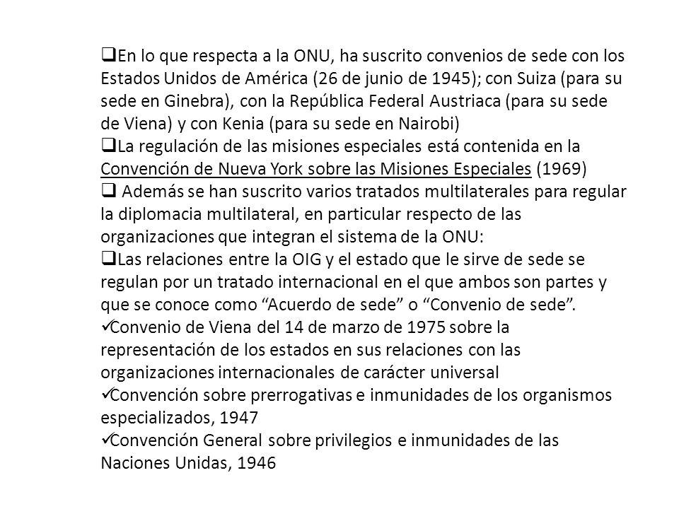 En lo que respecta a la ONU, ha suscrito convenios de sede con los Estados Unidos de América (26 de junio de 1945); con Suiza (para su sede en Ginebra