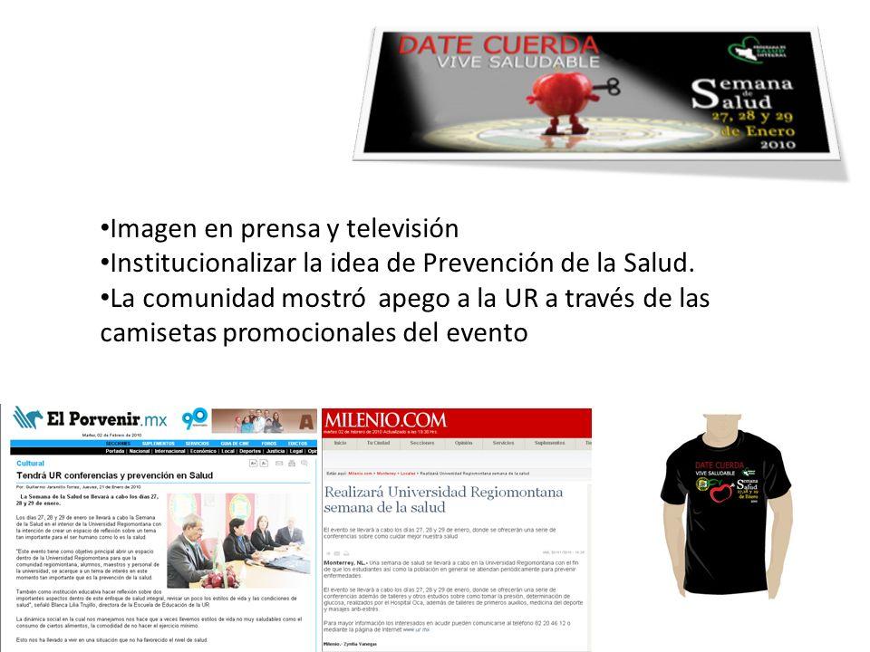Imagen en prensa y televisión Institucionalizar la idea de Prevención de la Salud.