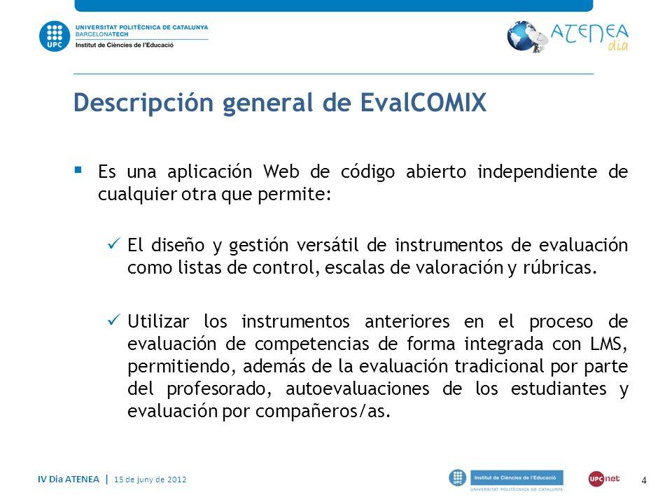 IV Dia ATENEA   15 de juny de 2012 EvalCOMIX ATENEA Permite Elaborar y gestionar instrumentos de evaluación Participación del alumnado en la evaluación Evaluación electrónica 5