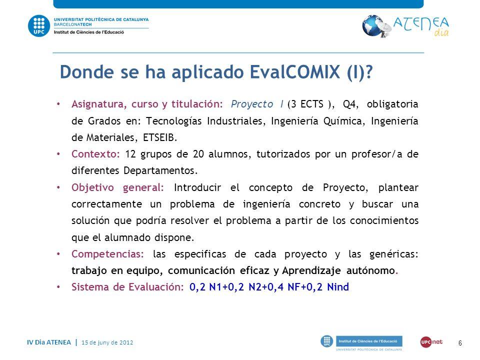 IV Dia ATENEA   15 de juny de 2012 Donde se ha aplicado Evalcomix (II).