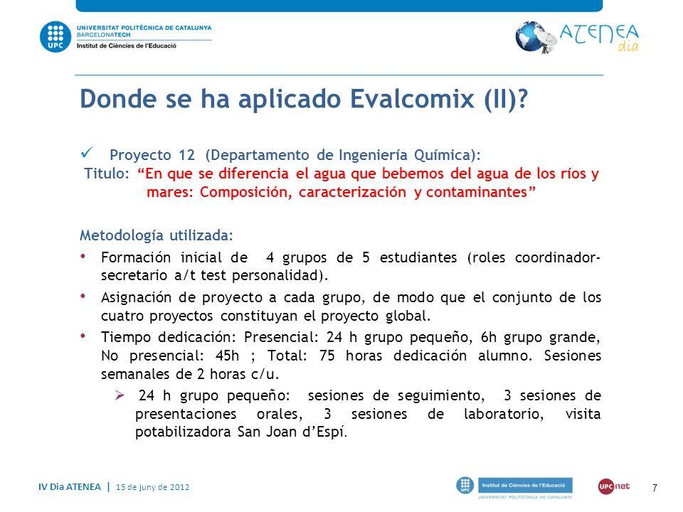 IV Dia ATENEA   15 de juny de 2012 8 Cómo y para qué se ha aplicado EvalCOMIX.