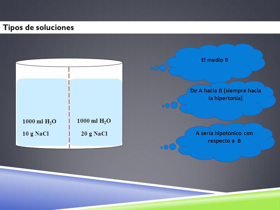 AB 1000 ml H 2 O 10 g NaCl 20 g NaCl El medio B De A hacia B (siempre hacia la hipertonía) A sería hipotónico con respecto a B Tipos de soluciones