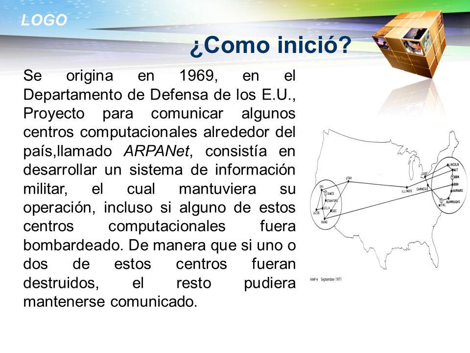 LOGO ¿Como inició? Se origina en 1969, en el Departamento de Defensa de los E.U., Proyecto para comunicar algunos centros computacionales alrededor de