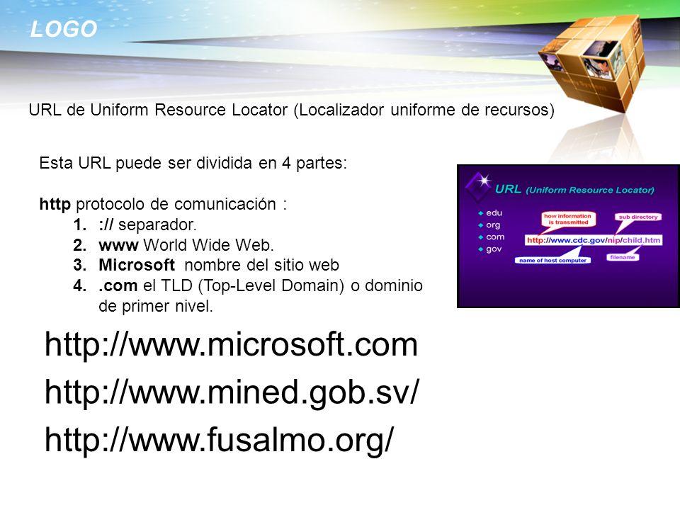 LOGO URL de Uniform Resource Locator (Localizador uniforme de recursos) Esta URL puede ser dividida en 4 partes: http protocolo de comunicación : 1.:/