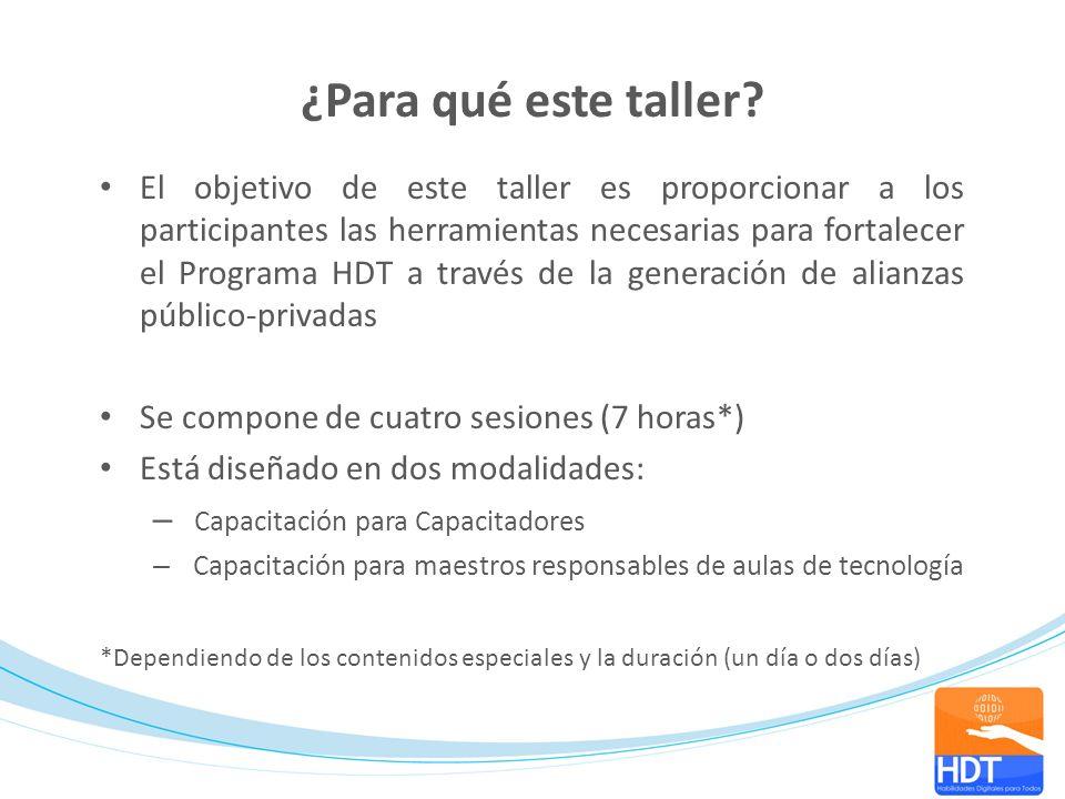 ¿Para qué este taller? El objetivo de este taller es proporcionar a los participantes las herramientas necesarias para fortalecer el Programa HDT a tr