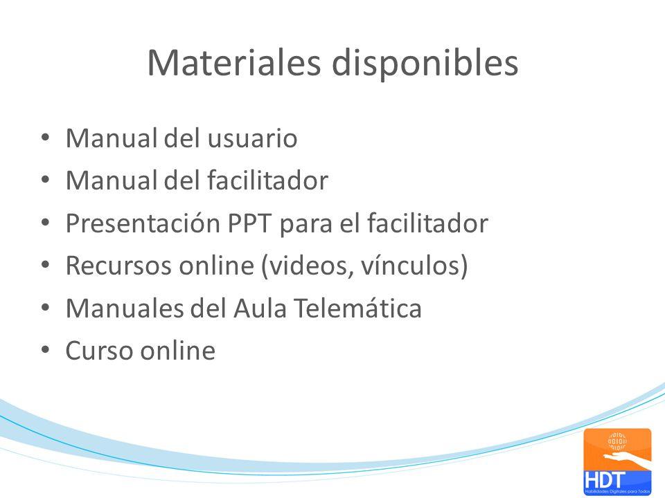 Materiales disponibles Manual del usuario Manual del facilitador Presentación PPT para el facilitador Recursos online (videos, vínculos) Manuales del