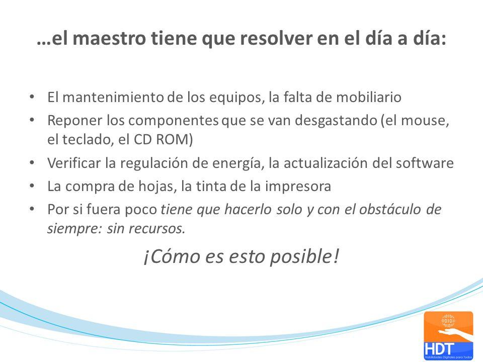 …el maestro tiene que resolver en el día a día: El mantenimiento de los equipos, la falta de mobiliario Reponer los componentes que se van desgastando