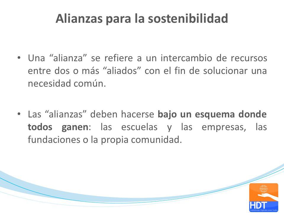 Alianzas para la sostenibilidad Una alianza se refiere a un intercambio de recursos entre dos o más aliados con el fin de solucionar una necesidad com