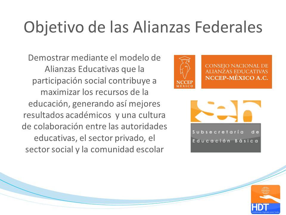 Objetivo de las Alianzas Federales Demostrar mediante el modelo de Alianzas Educativas que la participación social contribuye a maximizar los recursos