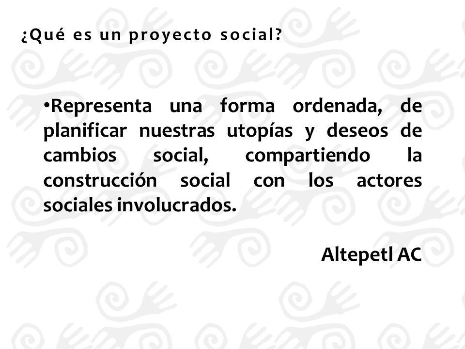 A diferencia del proyecto de investigación, el producto u objetivo final del proyecto social, es busca la intervención social, no la comprobación de hipótesis; busca impactar en las causas y en los efectos en la problemática en una sociedad.