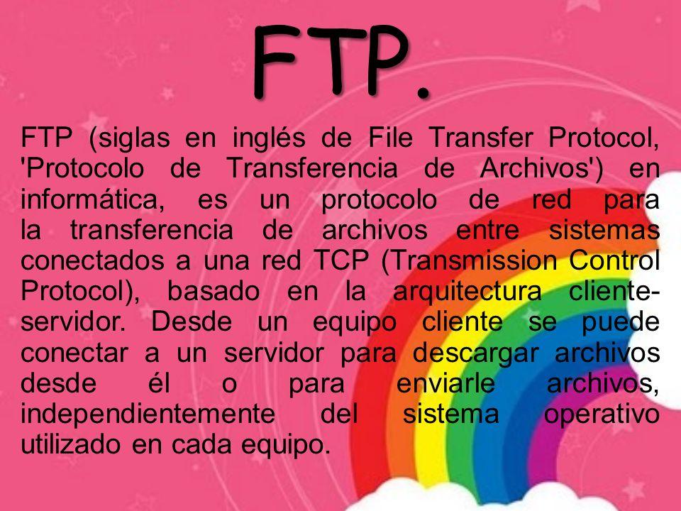 FTP. FTP (siglas en inglés de File Transfer Protocol, 'Protocolo de Transferencia de Archivos') en informática, es un protocolo de red para la transfe