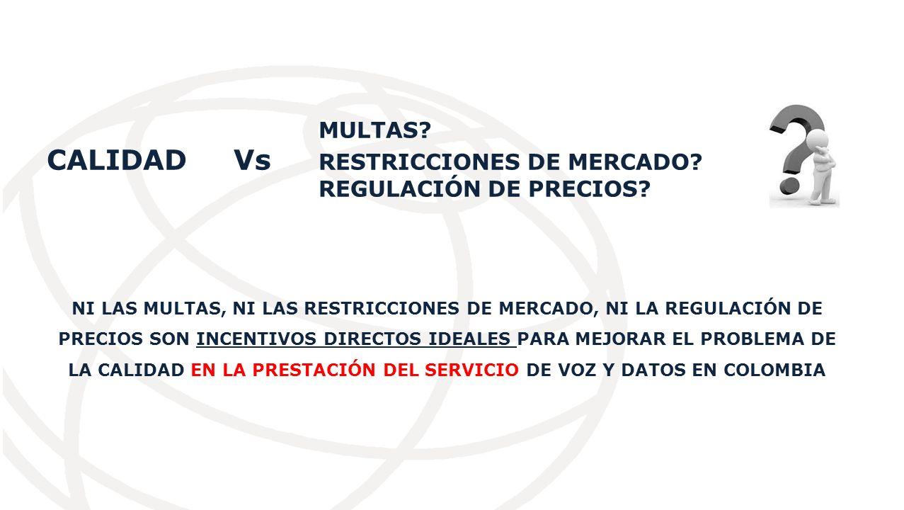 MULTAS.CALIDAD Vs RESTRICCIONES DE MERCADO. REGULACIÓN DE PRECIOS.