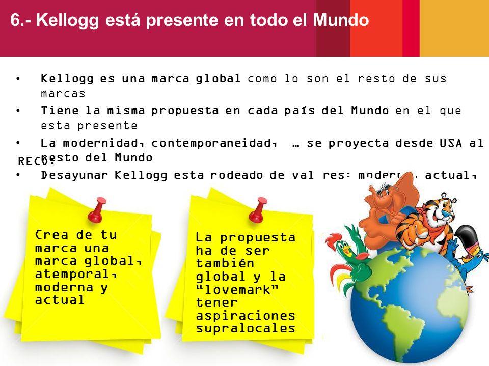 Kellogg es una marca global como lo son el resto de sus marcas Tiene la misma propuesta en cada país del Mundo en el que esta presente La modernidad,