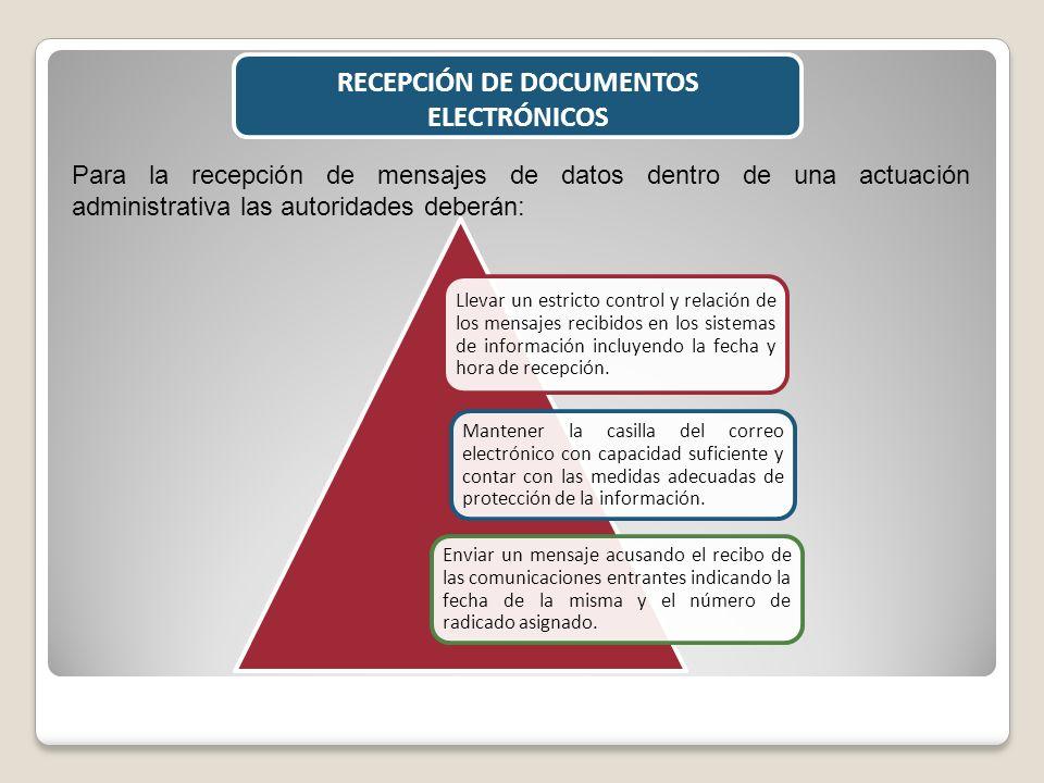 RECEPCIÓN DE DOCUMENTOS ELECTRÓNICOS Para la recepción de mensajes de datos dentro de una actuación administrativa las autoridades deberán: