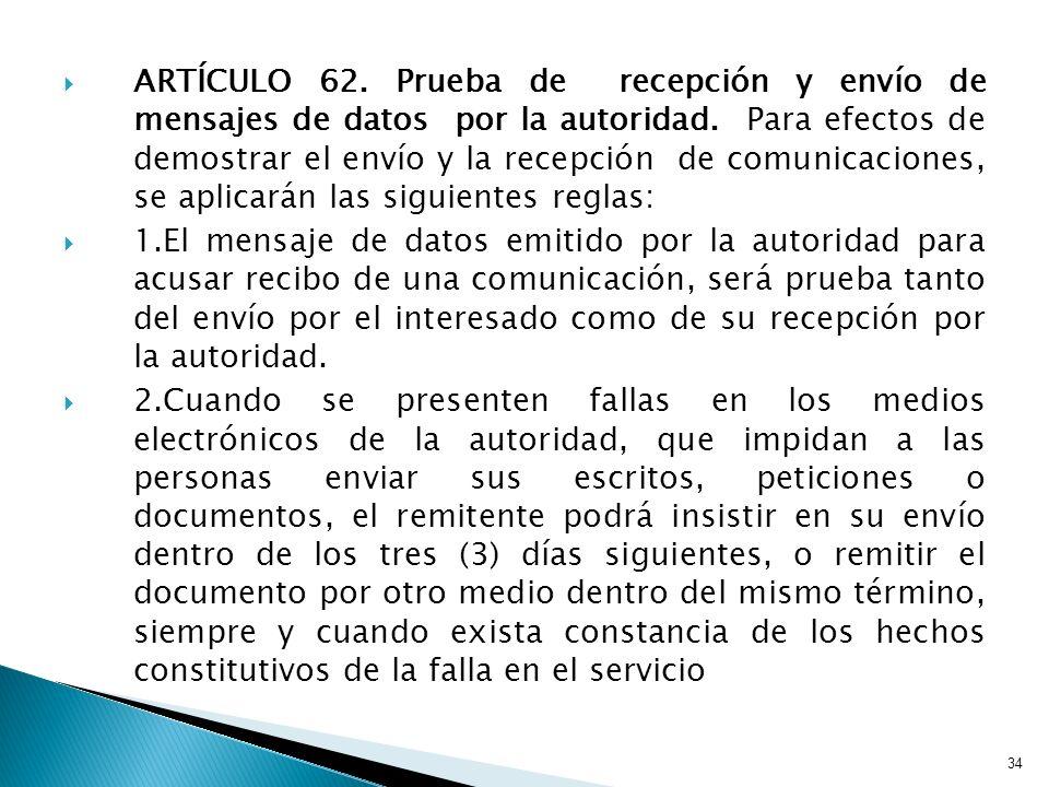 ARTÍCULO 62. Prueba de recepción y envío de mensajes de datos por la autoridad. Para efectos de demostrar el envío y la recepción de comunicaciones, s
