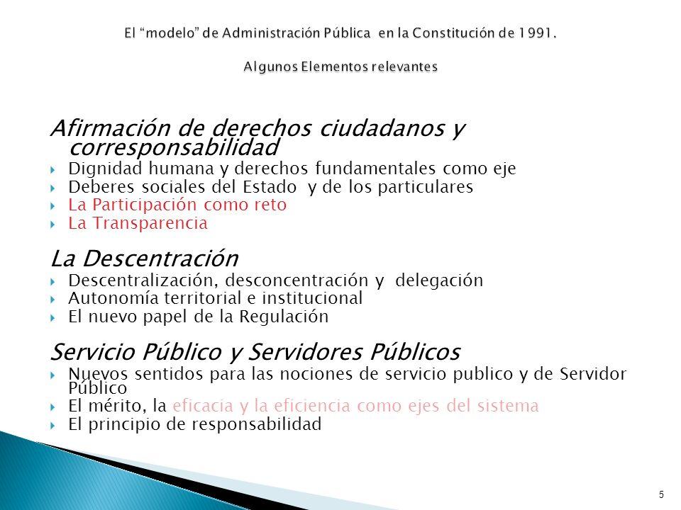 Afirmación de derechos ciudadanos y corresponsabilidad Dignidad humana y derechos fundamentales como eje Deberes sociales del Estado y de los particul
