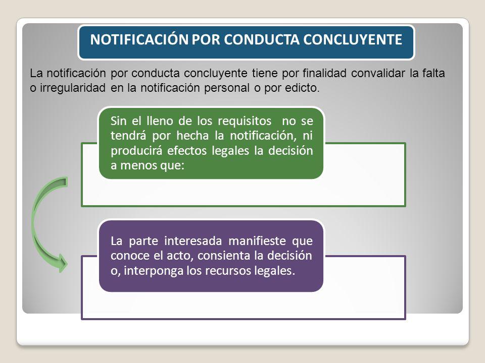 NOTIFICACIÓN POR CONDUCTA CONCLUYENTE La notificación por conducta concluyente tiene por finalidad convalidar la falta o irregularidad en la notificac