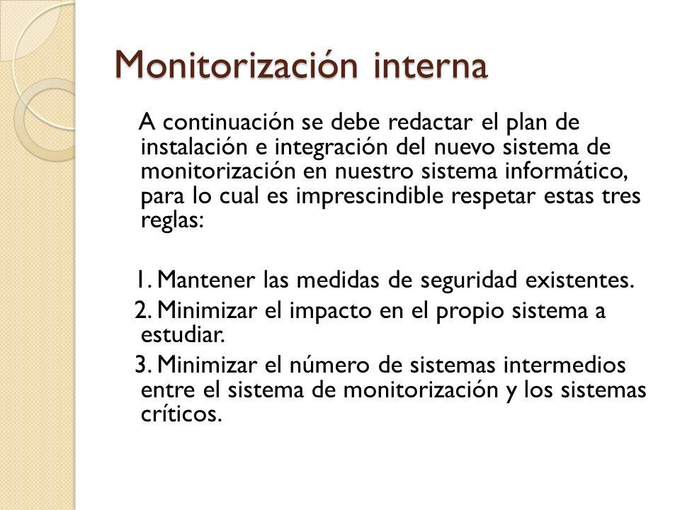 Monitorización interna A continuación se debe redactar el plan de instalación e integración del nuevo sistema de monitorización en nuestro sistema inf